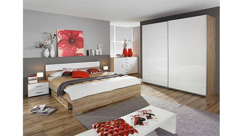 schlafzimmer set lorca eiche sanremo wei hochglanz. Black Bedroom Furniture Sets. Home Design Ideas