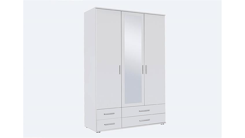 Kleiderschrank  RASANT Weiß mit Spiegel B 127 cm