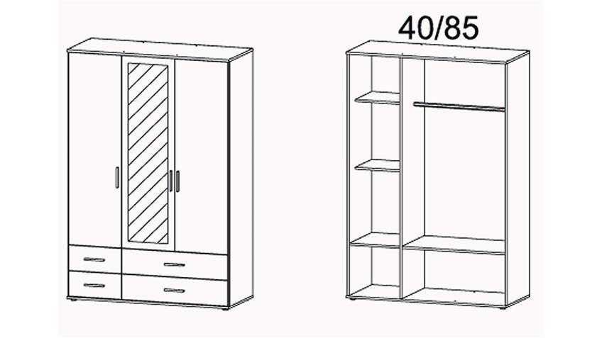 Kleiderschrank  RASANT Eiche Sonoma mit Spiegel B 127 cm