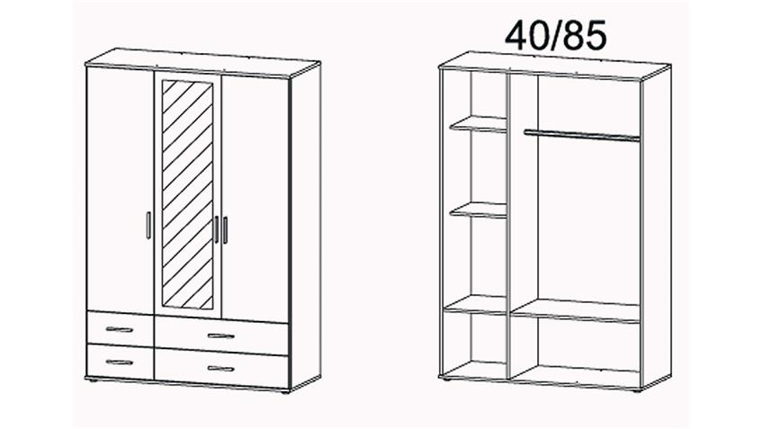 Kleiderschrank RASANT EXTRA weiß grau Spiegel B 127 cm