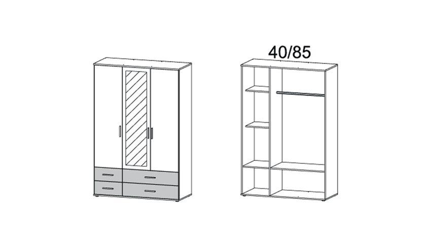 Kleiderschrank RASANT Drehtürenschrank 3-türig weiß Spiegel 127 cm