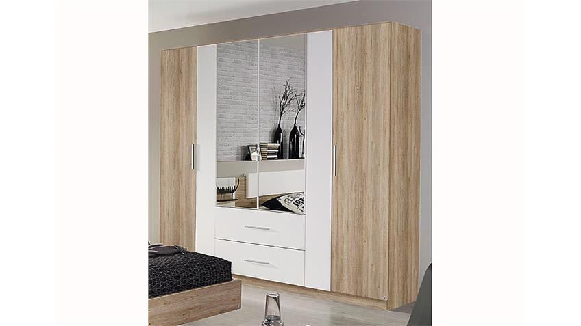 kleiderschrank bustas eiche sanremo hell und wei b 226 cm. Black Bedroom Furniture Sets. Home Design Ideas