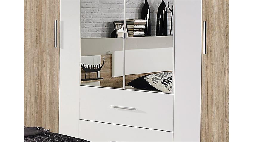 Kleiderschrank BUSTAS Eiche Sanremo hell und Weiß B 226 cm