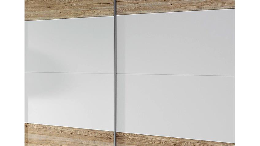 Schwebetürenschrank BUSTAS Eiche Sanremo hell und Weiß B 226