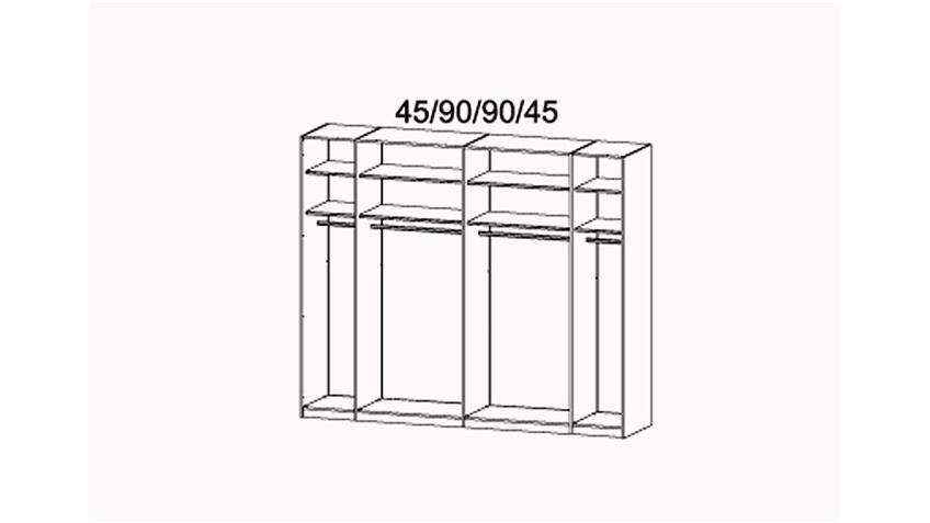 Schwebetürenschrank X-TEND Glas Weiß und Sahara