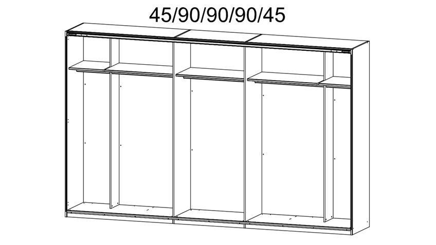 Schwebetürenschrank Bayamo in Graphit Abs. Spiegel B 315 cm