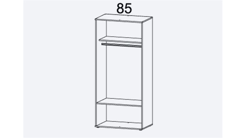 Kleiderschrank RASANT-EXTRA 2-trg Eiche grau Spiegel 85