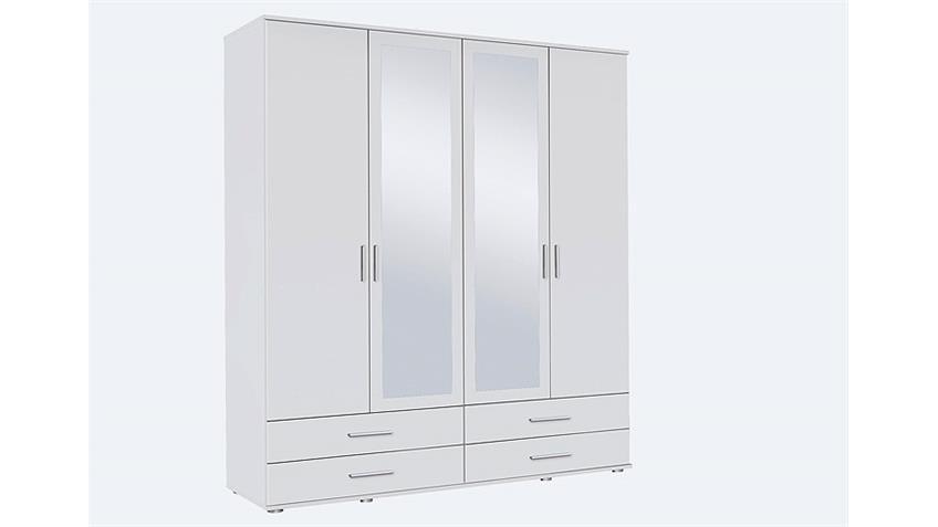 Kleiderschrank RASANT Drehtürenschrank 4-türig weiß Spiegel 168 cm