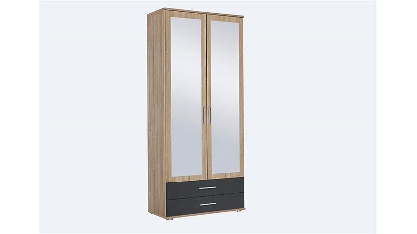 kleiderschrank rasant extra 2 trg eiche grau spiegel 85. Black Bedroom Furniture Sets. Home Design Ideas
