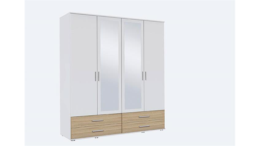 Kleiderschrank RASANT-EXTRA 4-trg. weiß Eiche Spiegel 168