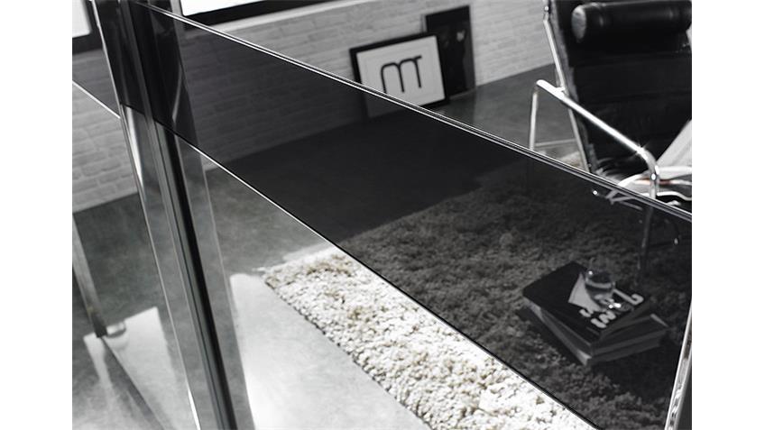 Schwebetürenschrank BAYAMO weiß Spiegel Glas schwarz B 181