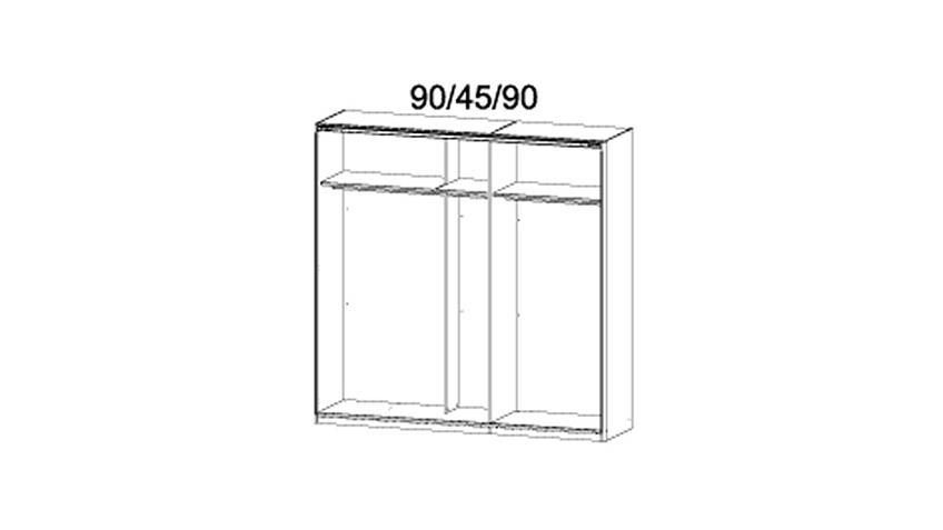 Schwebetürenschrank BAYAMO Schwarz Glas Weiß B 225 cm