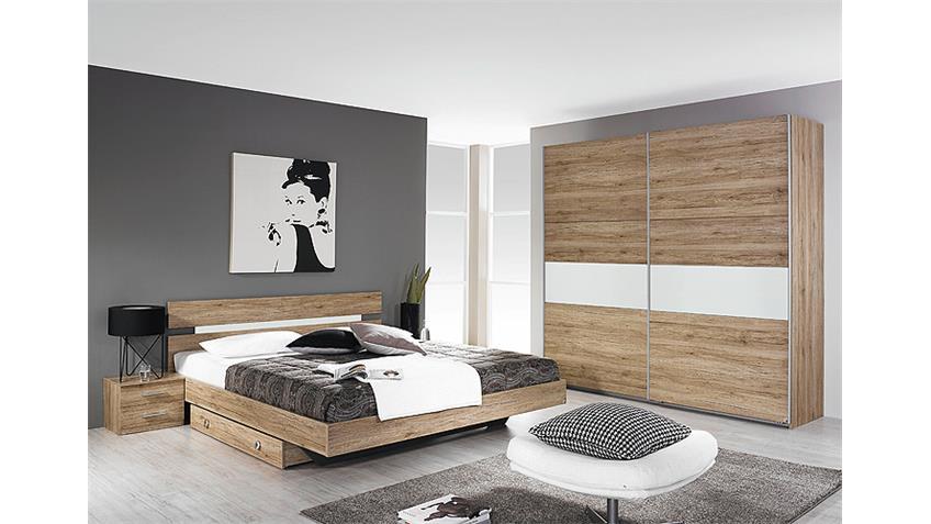 Schlafzimmer ALMADA Eiche Sanremo hell Weiß 4-Teilig