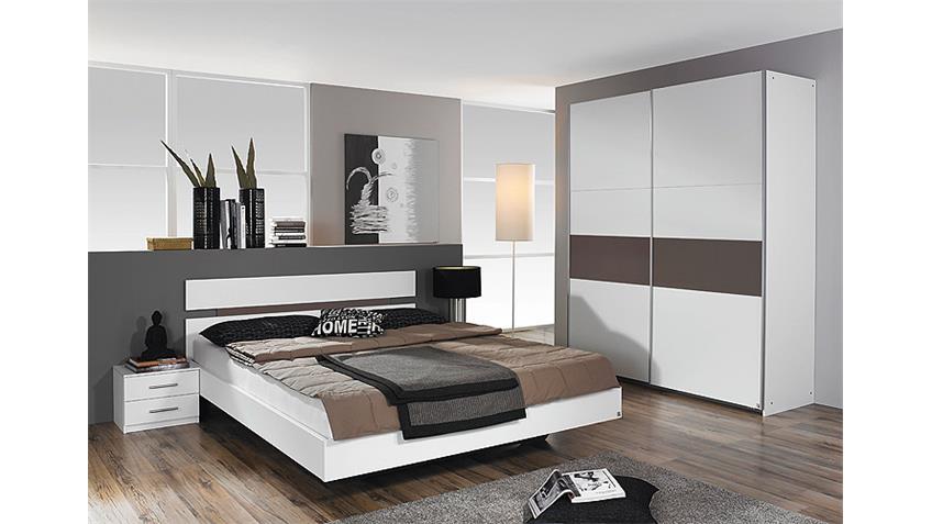 Schlafzimmer ALMADA Weiß und Lavagrau 4-Teilig