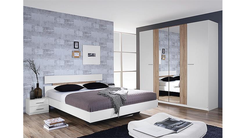 Schlafzimmer ALMADA Weiß und Eiche Sanremo hell