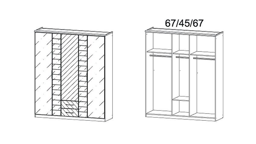 Kleiderschrank TELDE Grau-Metallic Glas Basalt und Spiegel