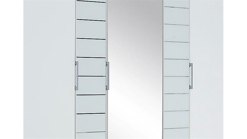 Kleiderschrank TELDE Weiß und Glas Weiß mit Spiegel