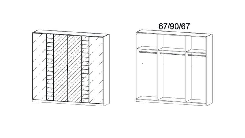 Kleiderschrank TELDE Grau-Metallic Glas Basalt B 226 cm