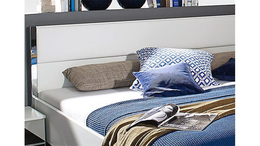 Futonbett MOITA in Weiß und Lederlook Weiß 180x200 cm