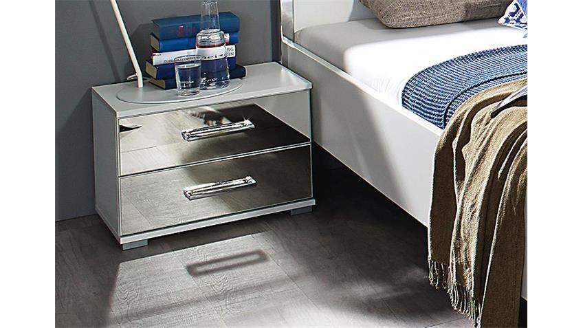 Nachtkonsole MOITA Weiß Spiegelauflage mit Schubkästen