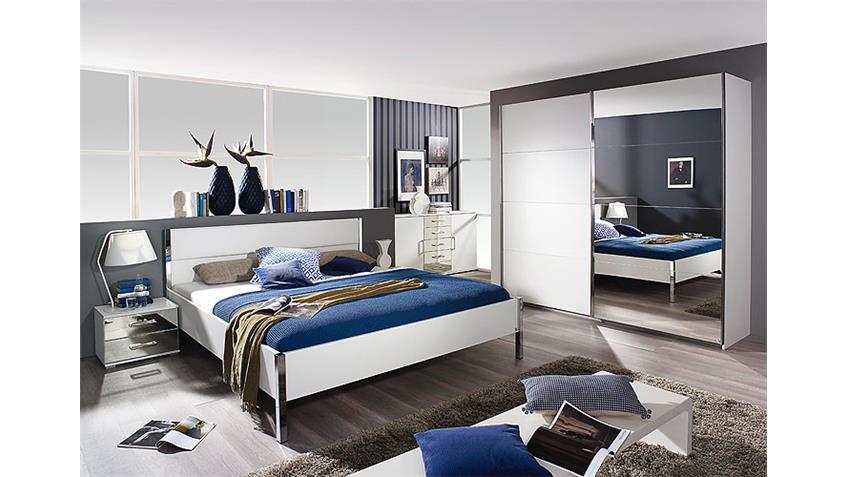 Schlafzimmer-Set MOITA in Weiß und Spiegel 4-Teilig