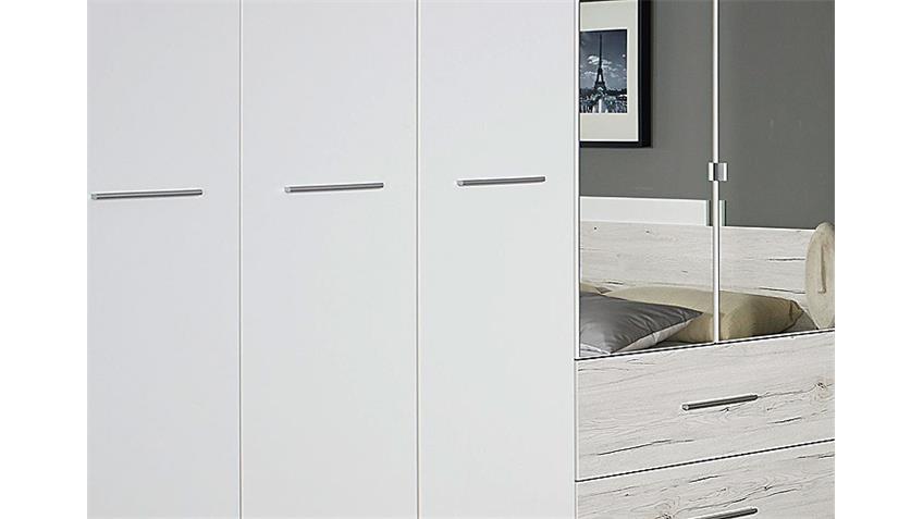 Kleiderschrank SARAGOSSA Weiß und Eiche Sanremo Weiß