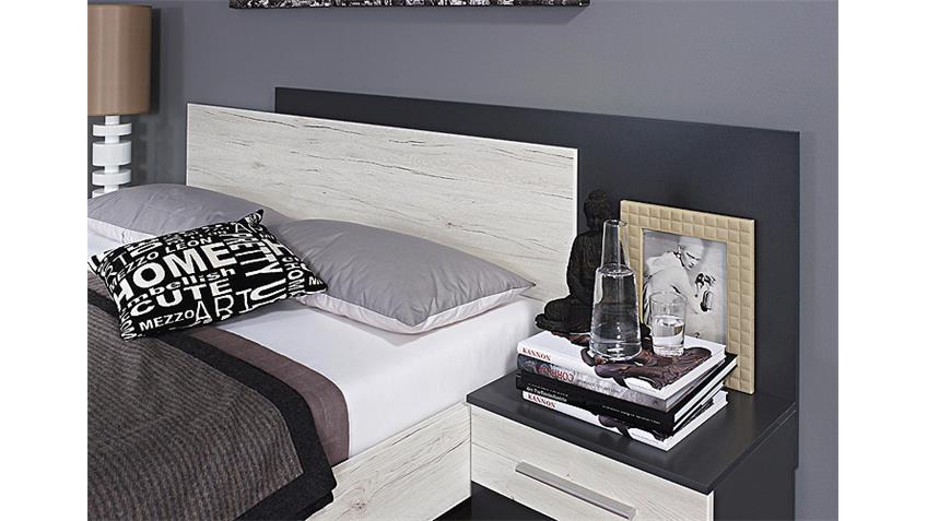 Schlafzimmer SARAGOSSA Grau-Metallic Eiche Sanremo Weiß