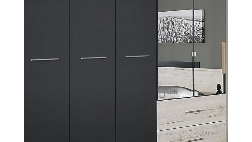 Kleiderschrank SARAGOSSA Grau-Metallic Eiche Sanremo Weiß