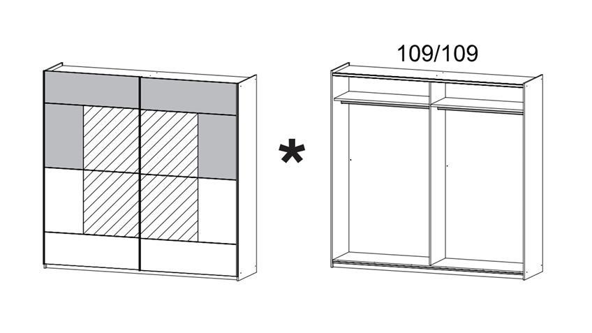 Schwebetürenschrank CRATO Schrank in Eiche Sonoma und weiß 218 cm