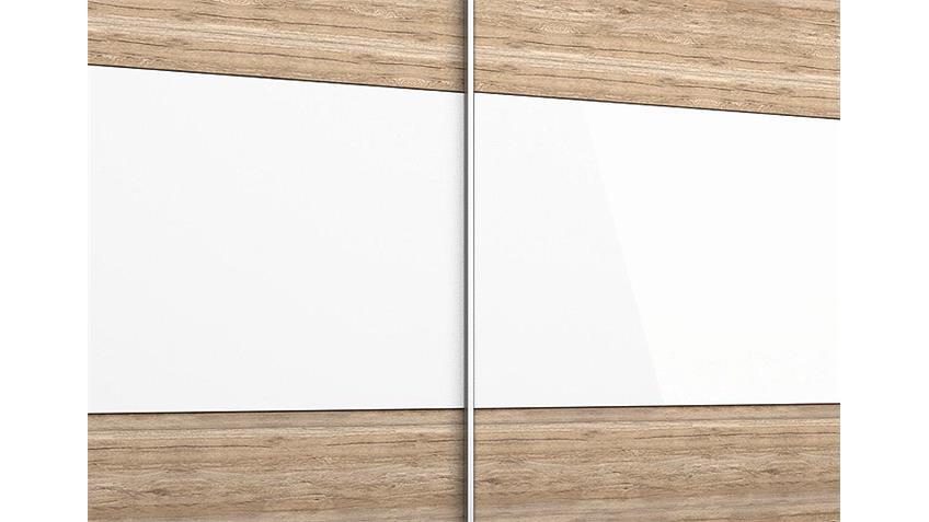 Schwebetürenschrank LORIGA Eiche Sanremo Glas Weiß B218 cm