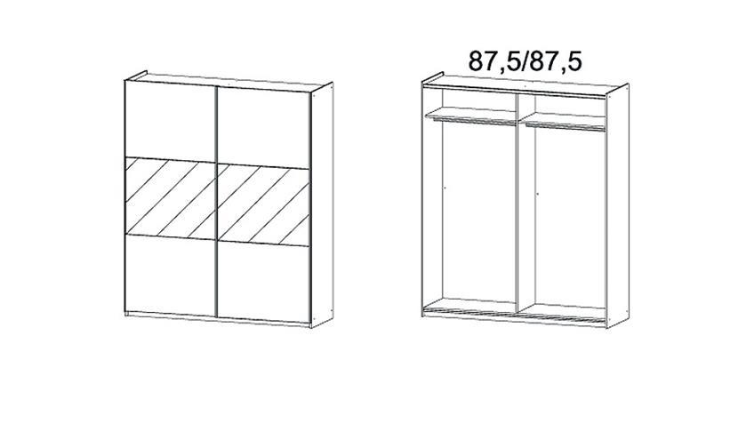 Schwebetürenschrank LORIGA Eiche Sanremo Glas Weiß B175 cm