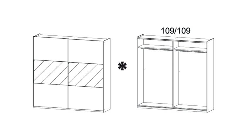 Schwebetürenschrank LORIGA Eiche Sonoma Glas Weiß B218 cm