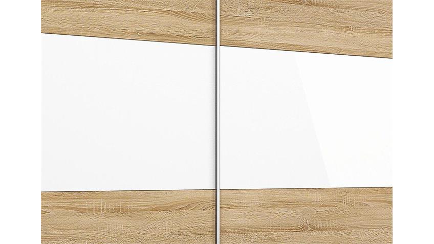 Schwebetürenschrank LORIGA Eiche Sonoma Glas Weiß B261 cm