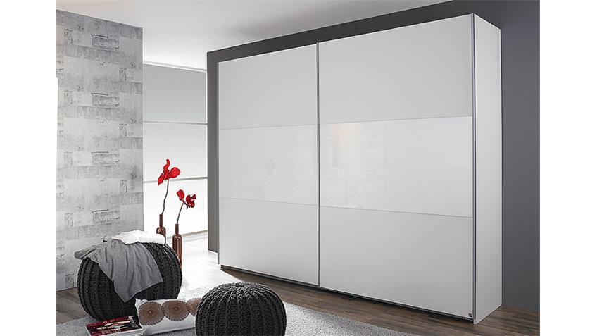 Schwebetürenschrank LORIGA Weiß Glas Weiß B 261 cm