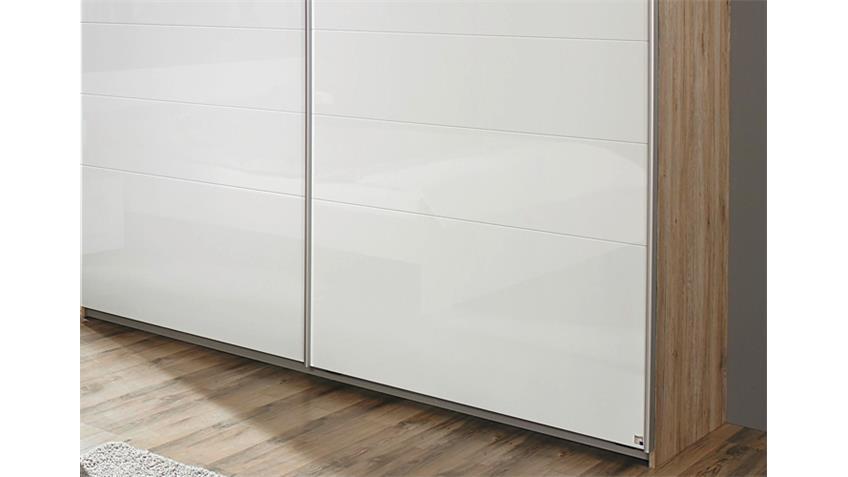 Schwebetürenschrank 226 cm LORCA Eiche Sanremo Weiß