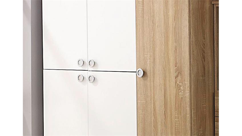 Kleiderschrank INDIRA Eiche Sonoma und Weiß B 136 cm