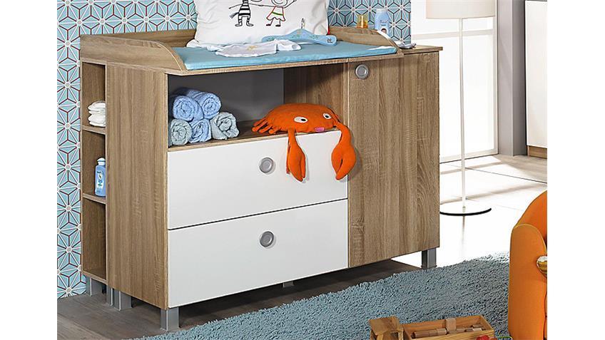Babyzimmer-Set INDIRA Eiche Sonoma und Weiß 4-teilig