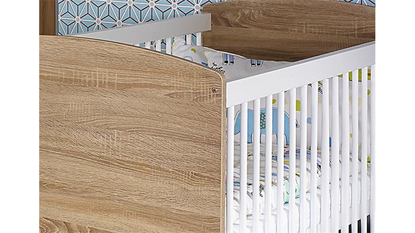 Babybett INDIRA Eiche Sonoma und Weiß 140x70 cm