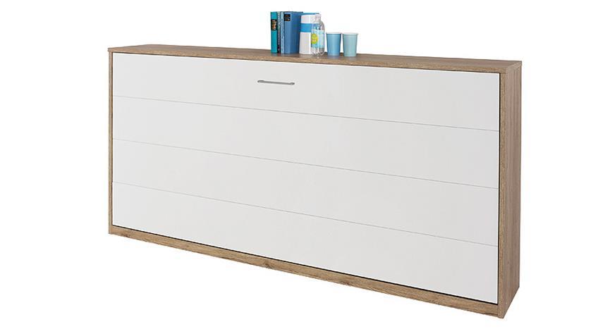 Klappbett ALBERO Weiß und Eiche Sanremo hell 90x200 cm