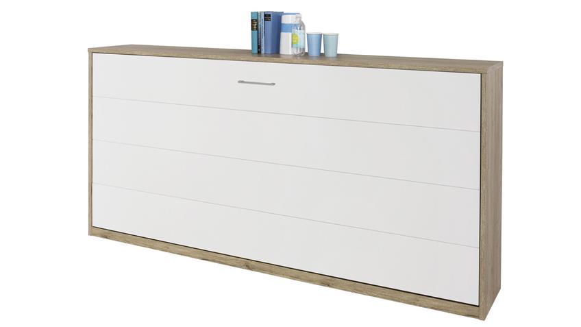 Schrankbett ALBERO 90x200cm Eiche weiß Klappbett
