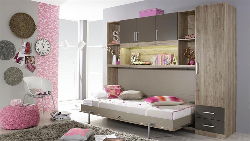 Schrankbett ALBERO mit Regal & Kleiderschrank Bettüberbau Eiche Lava