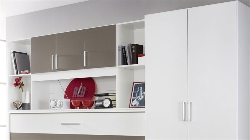 Schrankbett ALBERO Kleiderschrank Bettüberbau in weiß Lavagrau 90x200