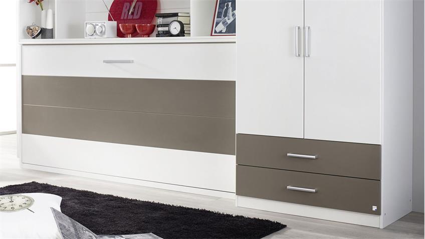 Schrankbett ALBERO mit Regal & Kleiderschrank Weiß Lavagrau 90x200 cm