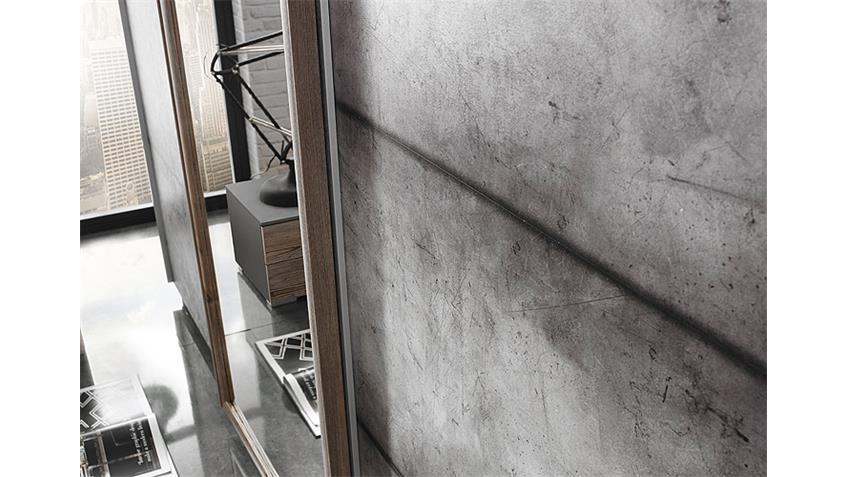 Schwebetürenschrank STREETWAY Lärche Basalt Beton Optik