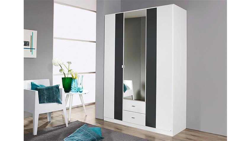 Kleiderschrank DORTMUND Weiß Glasauflage Basalt 136 cm
