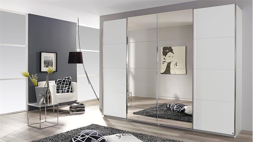 Schwebetürenschrank SYNCRONO in weiß mit Spiegel 271 cm