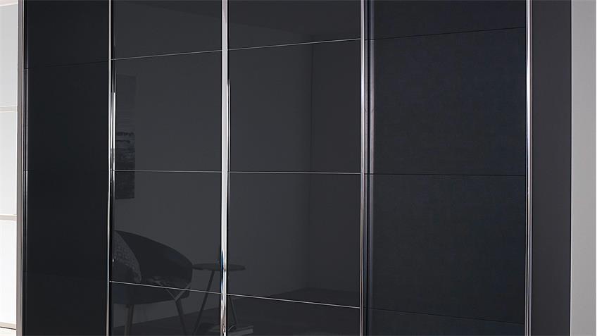 Schwebetürenschrank SYNCRONO grau metallic Glas basalt 271