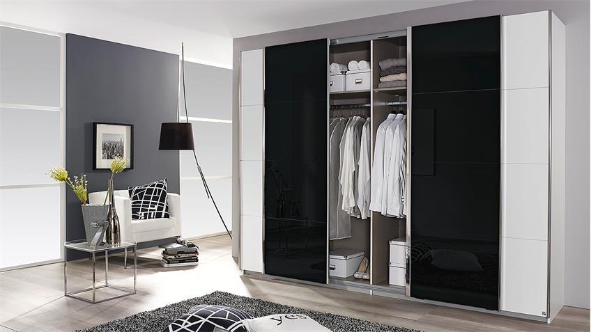 Schwebetürenschrank SYNCRONO weiß und Glas schwarz 271 cm