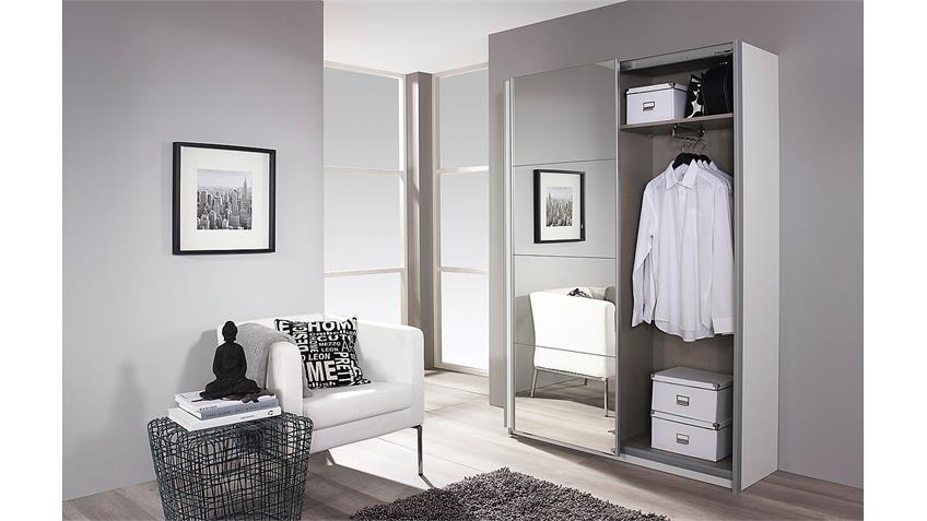 Schuhschrank MINOSA Garderobenschrank Schrank in weiß Hochglanz 136 cm