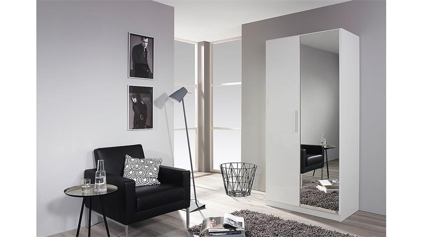 Garderobenschrank MINOSA Kleiderschrank in weiß Hochglanz 91 cm